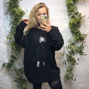 T Swift Reputation Distressed Oversized Sweatshirt